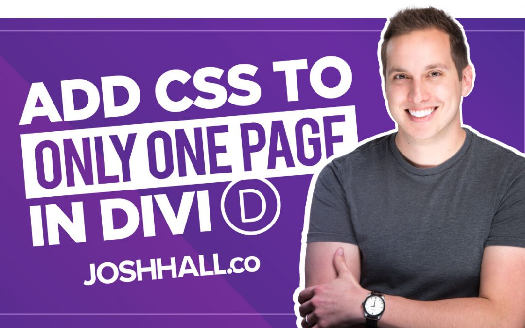 How to Apply CSS to Only One Page in Divi